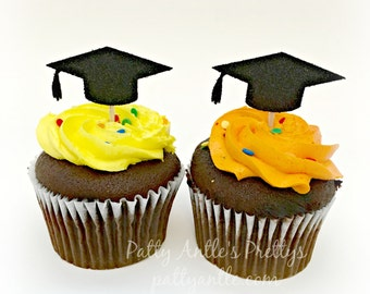 Glitter Graduation Cupcake Toppers, Mortar Board Cupcake Topper, Graduation Cap Topper, Graduation Cupcakes, Graduation Topper, 12 Ct.