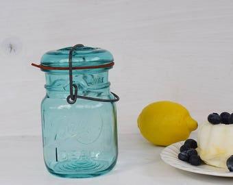 Aqua Blue Ball Pint Jar // Blue Canning Jar // Farmhouse Style Kitchen // FixerUpper // Farm Style // Ball Canning Supplies