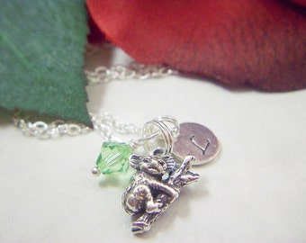 Beautiful Sterling Silver Koala Charm Necklace with Sterling Silver Initial and Sarovski Birthstone Crystal