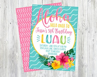Luau Birthday Party Invitation. Printable Luau Invitation. For Birthday, Baby Shower, Bridal Shower, Pool Party. Aloha. Hula On Over