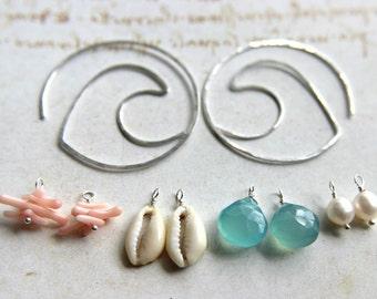 Interchangeable Hoop Earrings, Wave Hoop Earrings, Mix and Match Beach Earrings, Peach Aqua Hoops