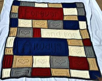 wedding blanket, anniversary blanket, handmade blanket, popcorn word blanket, crochet wedding blanket, wedding gift, anniversary gift