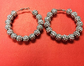 Silver Pave Hoops
