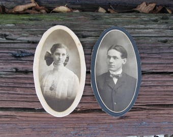 Vintage Black and White Photographs Man and Woman Couple Oval Cut Out on Mat Board