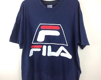 MEGA SALE !! Fila Big Logo Made in Usa Tee Spell Out Logo Sportwear Brand Fila Brand