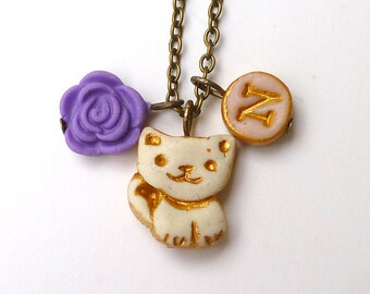 Cat Necklace, kitty, initial necklace for girl, birthday gift for 5 years old girl, little cat charm, whimsical flowergirl jewelry