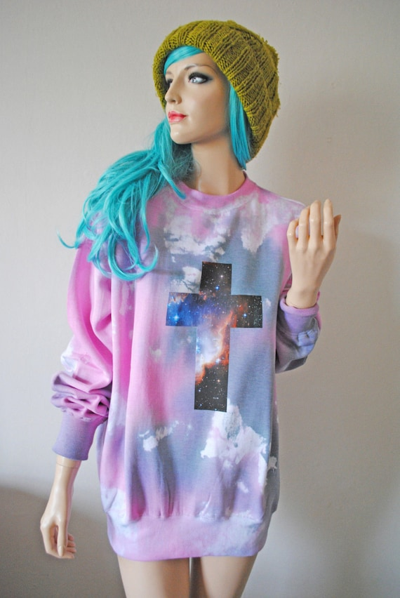 Astral Crucifix Dye Jumper hipster tumblr cute gift