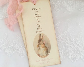 Bunny Tea Party Bookmarks Favors Baby Shower Birthday Set of 10
