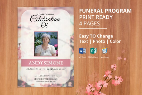 Printable Funeral Program Template Memorial Service Editable With