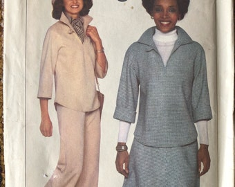 Vintage Simplicity 8169 / Pullover Top, Pants and Skirt Sewing Pattern Circa 1977 Uncut Sewing Pattern