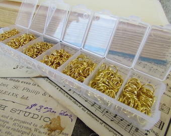 Gold Jump Rings - Assorted Set With Case -  3 - 9mm - 1780pcs - Ships IMMEDIATELY from California - F05