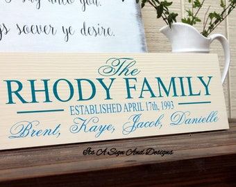 Last Name Sign, 25th Anniversary Gift, Personalized Sign for Home, Custom Wooden Signs, Family Established Sign, Wedding Gifts for Parents