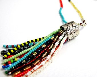 Long Beaded Tassel Necklace - Colorful Glass Seed Beads - Sterling Silver Beaded Tassel - Boho Tribal Necklace