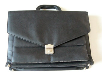 Suitcase for men/briefcase black/Faux leather suitcase multipocket