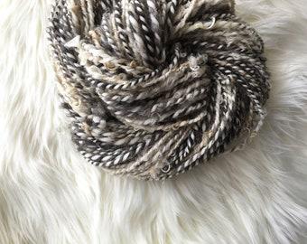 4.7 oz Farm Fresh Art Yarn, Natural Leicester Longwool and Merino Wool Handspun Yarn, 74 yds