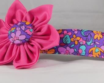 Dog Collar with Flower - Garden Violet - All Sizes