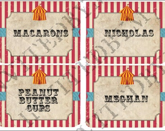 Rustic Circus Part Labels Name Cards