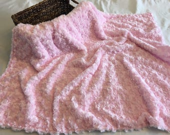 Light pink and white Minky baby blanket