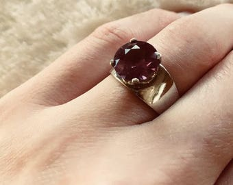 Sterling Silver Large Stone Manmade Alexandrite Marked .925