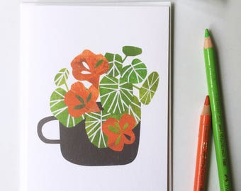 Nasturtium in a Dark Grey Cup greetings card