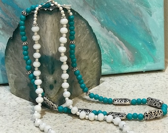 White or turquoise necklace