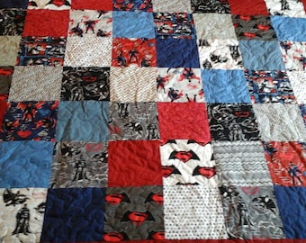Queen size superhero quilt
