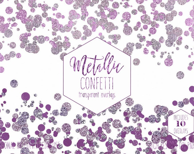 PURPLE CONFETTI BORDER Clipart for Commercial Use Clip Art 10 Transparent Overlays Metallic Pink Wedding Party Invitation Digital Graphics
