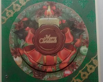 "Card ""Merry Christmas"" candle and Red bow, 3D"