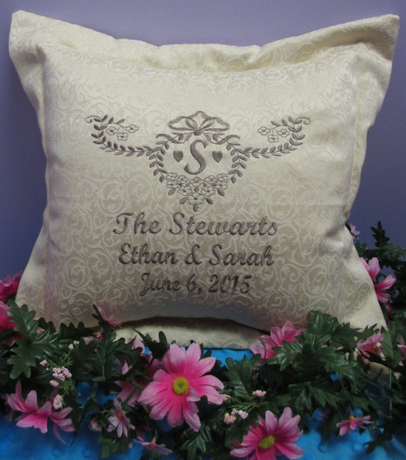 Pillow Cover Personalized Monogrammed Wedding or Anniversary-FREE SHIPPING