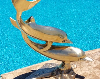 Vintage Brass, Large, Dolphin Figurine, Statue, Coastal, Nautical, Beach, Tropical, Hollywood Regency, Bookshelf Decor, Mancave Decor