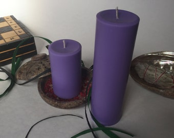 Purple Soy Wax Pillar Candles