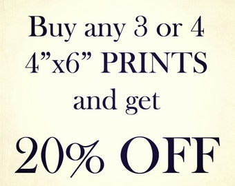 """Three or Four 4""""x6"""" Prints, Discount, Photography"""