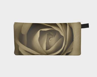 Floral Pencil Case, Sepia Pouch, Pencil Pouch, Make Up Bag, Flower Pouch, Small Bag, Zipper Pouch, pencil bag, Cosmetic Bag, Small Pouch