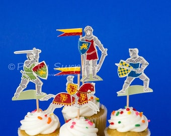 Cupcake Toppers Medieval Knights in Armour Boy Party Decorations Knights and Dragons Party Cupcake Cake Knights Decorations