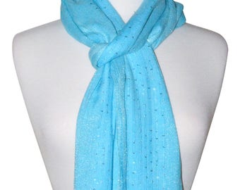 Turquoise Soft Rayon Shimmery Sequence Scarf