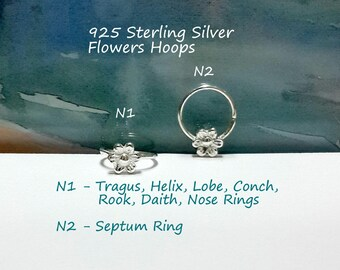 16g 18g 20g 22g Sterling Silver Flowers helix hoop- tragus ring- lobe-conch- daith- rook- nose ring- septum piercing- 7-12mm inner diameter