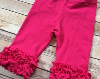 Pink Icing leggings - mini ruffle capris - toddler ruffle leggings - baby ruffle leggings - ruffle capris - ruffle pants - baby pants