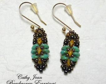 Beadwoven Earrings, Beadwork earrings, Beaded Earrings, Superduo Earring, Superduo, Beadwork Bracelet