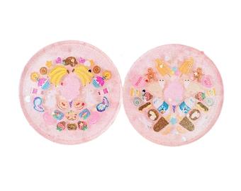 Resin Coaster Set: Cotton Candy Pink 1