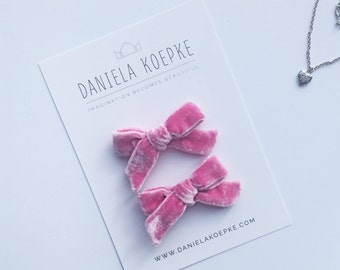Pigtail Bows  - Pink Velvet Bow - Baby Bows - Velvet Hair Bow - Pink Velvet Bows Baby  - Hand Tied Bow - Pigtails Bows