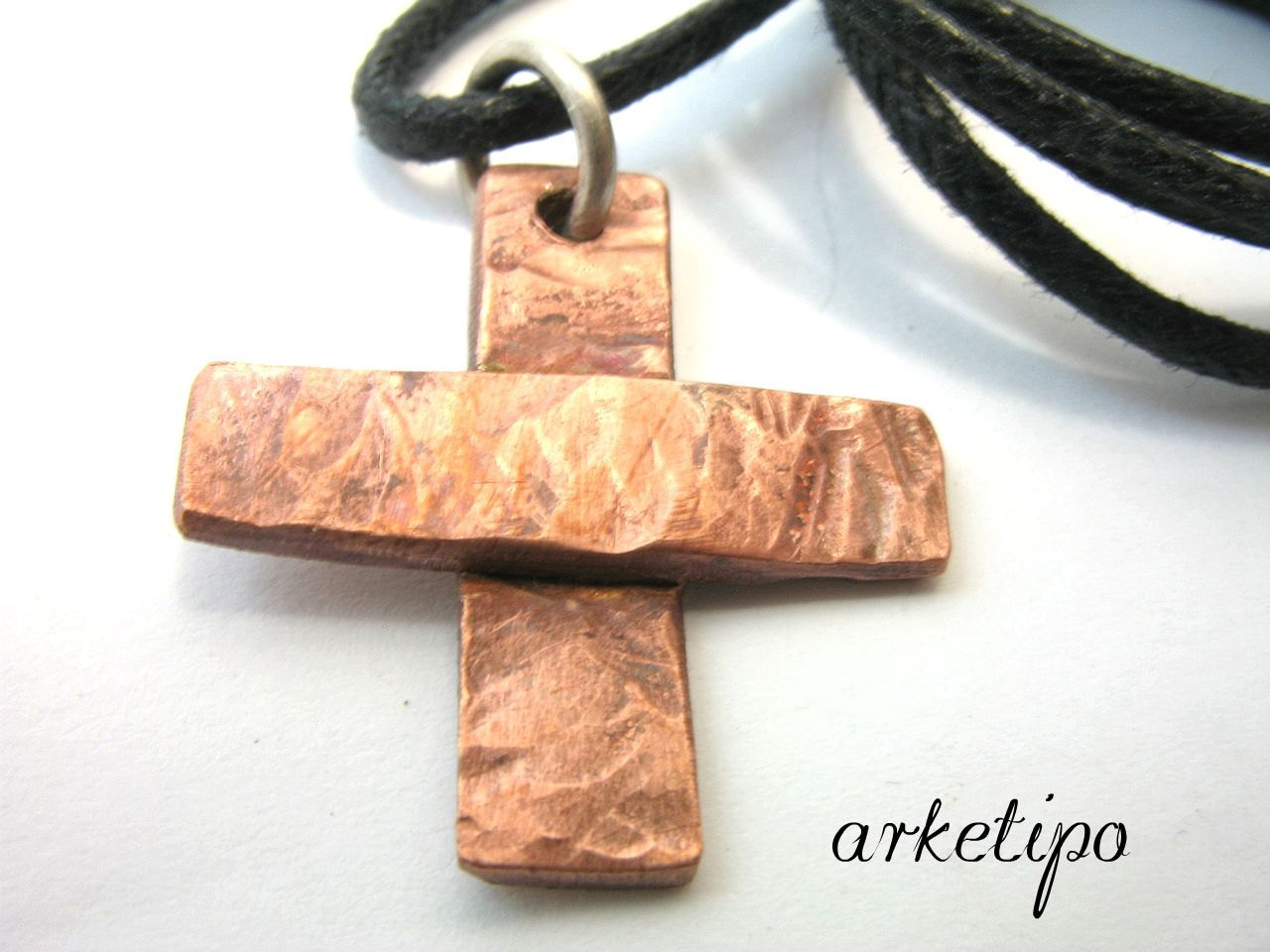 Handmade hammered copper cross necklace with black cord zoom aloadofball Choice Image