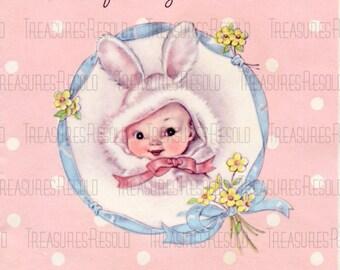 Babys First Easter Bunny Card #385 Digital Download