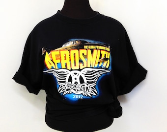 Vintage Concert T Shirt Aerosmith Cheap Trick Global Warming Tour Rock n Roll Graphic Tee Musician XL Extra Large