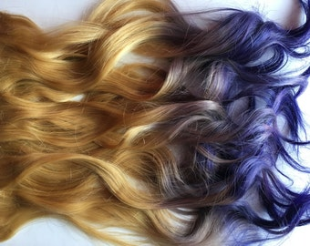 Purple and Medium Light  Blonde Ombre Fade Dip Dye Clip in Human Hair Extensions LARGE Set Double Layered