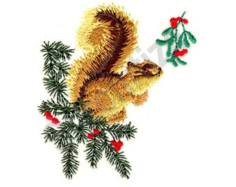 Christmas Squirrel - Machine Embroidery Design, Squirrel, Christmas, Holley, Mistletoe