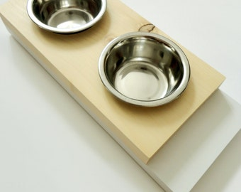 IMPERFECT- Modern small feeder- Cat or small dogs bowls- Minimal design - Wood and white