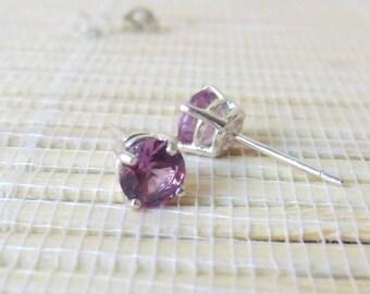 Alexandrite Stud Sterling Silver Earrings Lab Created June Birthstone 6mm