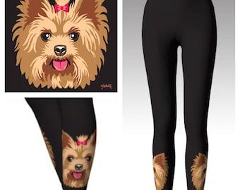 Yoga leggings with custom art work - add your own pet portrait!
