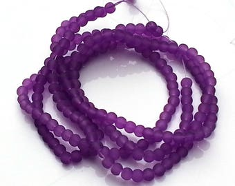 Purple frosted glass beads - glass beads - 4mm beads - round beads - craft beads