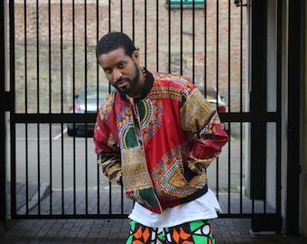 African Mens fashion Dashiki Bomber Jacket Puffer Jacket Dashiki Jacket Wax Bomber Jacket Festival Clothing African Jacket Ethnic Jacket